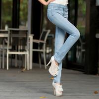 118 2013 spring wearing white light blue jeans elastic pencil pants slim skinny pants
