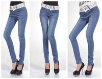 1623 spring elastic lace skinny pants pencil mere loin pants plus size female denim trousers