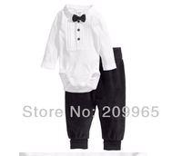 Cute Baby Suit Boy Gentleman Romper Bodysuit + Kids Pants 2 Piece Set for 2014 Toddler Infant Clothes Bebe Clothing Outerwear