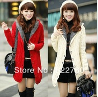 free shipping new sweet warm  thick  fluffy  hooded cardigan sweater, women  loose  long   woolen  sweater  coat