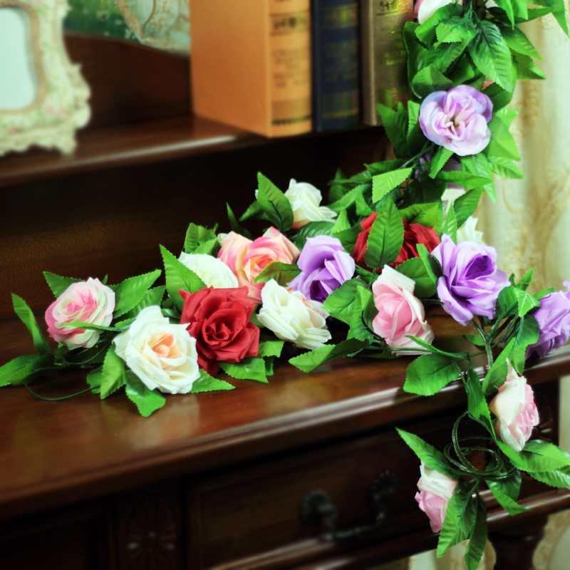 10PCS Free Shipping Artificial Love Rose Flower Ivy Vine Silk Party Wedding Hanging Decor Garland(China (Mainland))