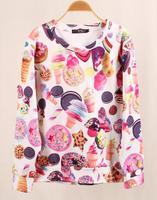 New 2014 Spring Fashion Women Sweatshirt Hot Selling Loose Sweet Ice Cream 3D Print Pullover female Hoodies Sport Wear WH-043