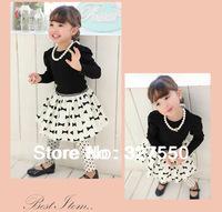 wholesale kids Princess suit girl cotton Long-sleeved t-shirt + Bow Print tutu skirt + headscarf 3 pcs set Black& white GQT-340