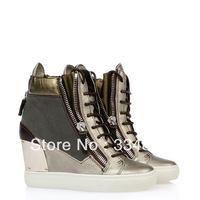 Genuine Leather Sneakers For Women New Style Height Incresing Shoes High Top Wedges