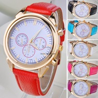 2014 New Fashion Multi Colors Women's Synthetic Leather Quartz Watch Dress Wrist Watches 19743