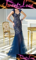 Navy Floor Length Lace Dress with Cap Sleeves