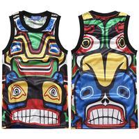 High Quality 2014 brand new Summer men's tank top sports sleeveless shirt mayan totem printed basketball undershirt SH-037