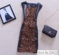 2014  Autumn Winter New Arrival Women Vintage Elegant Pu Leather Patchwork Suede Leopard Print Sleeveless Pencil Dress