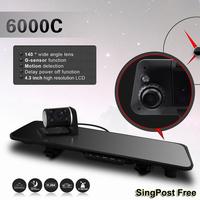 2014 New Car Rear View Mirror Dash Camera Recorder 720P HD  Dual Lens DVR 4.3inch LCD + 140 Degree Wide Angle G-sensor HDMI