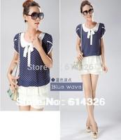 2014 Women Clothing Fashion Short Sleeve Bow Chiffon Blouse Polka Dot Loose Plus Size Women Shirt Spring Summer  S-XXXXL