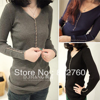 2014 autumn and winter women button sweater,slim plus size base shirt long sweater lady  warm knit  Pullovers sweater