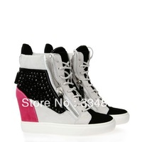 2014 Spring Autumn Wedges For Women High Quality Genuine Leather Shoes Fashion Casual Sneakers