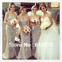2014 Grey Sweetheart Long Sash Lace Vintage Cheap Mermaid Bridesmaid Dresses