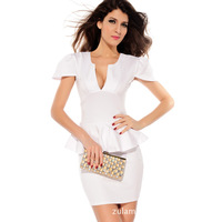 2014 summer new European and American temperament OL small U -neck short sleeve solid color dress Women's Clothing Dresses