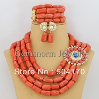 2014 New African Wedding Coral Beads Jewelry Set African Costume Bridal Jewelry Set Free Shipping CNR107