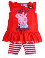 Wholesale 2014 Summer New Baby Girls Clothing Sets Brand kids sets Peppa Pig 2pcs Red Sleeveless T-shirt Top + Striped Shorts