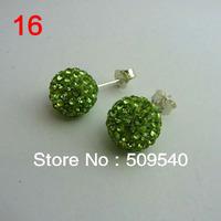 free ship,Wholesale Retail mix ed CZ earrings stud Crystal Ball earring stud fashion popular new arrival 16pair/lot