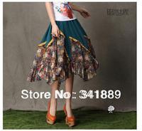 Hot Sales,Summer Women Floral Loose Skirt,National Choffon Long expansion skirt,Best Quality(M-XL)