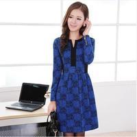 slim V-neck slim hip long-sleeve dress patchwork female plus size