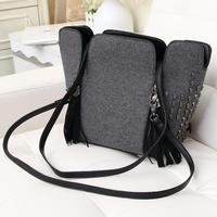 European and American leather tassel zipper bucket messenger bags Kito street diagonal package