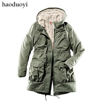 Free shipping Army Green thermal wool liner wadded jacket thickening thermal overcoat 6 haoduoyi  Wholesale and retail