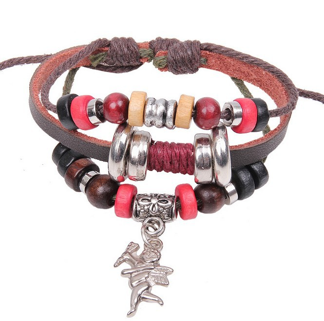 Free Ship 2014 New Fashion Vintage Leather Handmade Bracelet Cupid Arrow Pendant Full Of Beads Punk