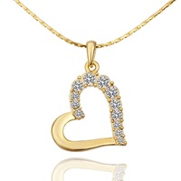 2014 new! High quality 18k yellow gold Plated necklace,Austrian crystal heart necklaces&pendants, jewelry,Free Shipping KN585