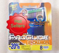 Free Shipping 16pcs/lot Best Quality Proglide Power 8S Shaving Razor Blades For Men sharpener shaving razor blades  RU Version