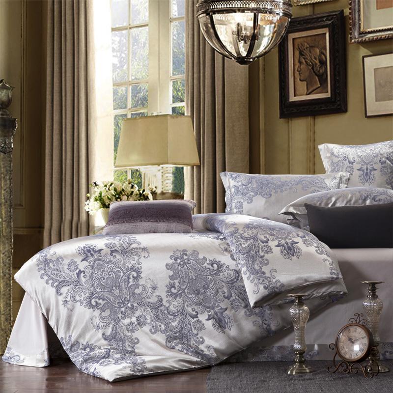 free shipping Textile satin jacquard four piece 100% cotton bedding set comforter set(China (Mainland))