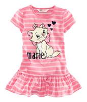Hot! Retail 1Pcs/Lot Girls Dresses Summer 2014 Princess Dress Kitty Baby Cartoon Marie Mini Dress Stripe Cute Dress For 0-2 Yrs