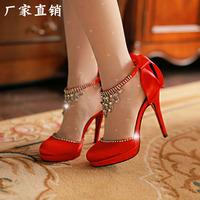 2014 bow bridal shoes wedding shoes female high-heeled crystal single shoes rhinestone .