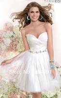 2014 Cocktail Dresses Sheer Bateau Gridding Top Sweetheart Neckline White Tulle Mini  A-line Short Homecoming Party Dress C1405