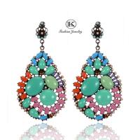 2014 New Designer Brands Women Acrylic Hip Hop Alloy Rhinestone Funny Drop Earrings Vintage Fashion Jewelry Big earrings