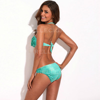 RELLECIGA Bandeau Bikini Series - Green + Metallic Pattern Sexy Fringe Bikini Swimwear Swimsuit Bathing Suit