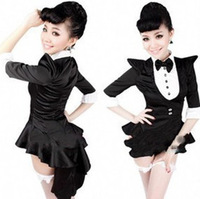 Performance wear ds lead dancer clothing black tuxedo costumes
