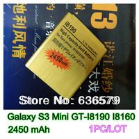 Free shipping 2450mAh gold replacement  battery for Samsung Galaxy S3 Mini GT-I8190 I8160 i8190 Batterie Bateria Batterij AKKU