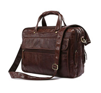 Free Shipping Hight Quality Brown 100% Genuine Leather  Men Portfolio Briefcase Laptop Bag Messenger Handbag #7146C