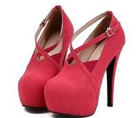 new 2014 platform thin high heels wedding shoes women pumps sexy 14cm pumps round toe flock ankle strap ladies shoe A085