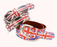 Free Shipping Hot Sale 2014 Fashion Women Men Vintage Retro UK flag Doodle Punk Fashion Hiphop Male Ladies Strap Belt
