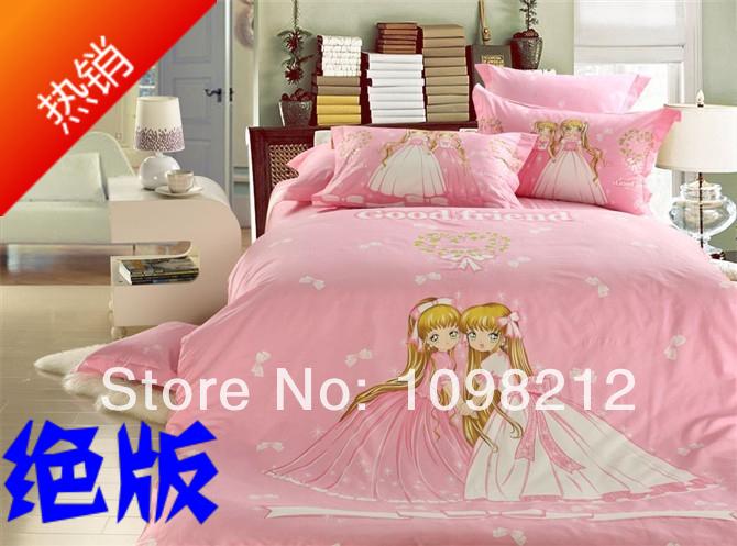 free shipping fashion kids cute Pink 100% cotton girl princess cartoon 4 piece bedding set(China (Mainland))