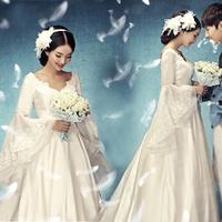 Wedding dress 2014 sweet princess bride V-neck long-sleeve spring and autumn Free shipping