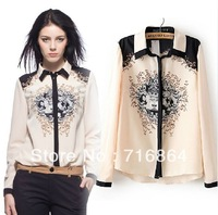 CS0819 fashion vintage baroque positioning print patchwork long sleeve chiffon loose casual blouse women european style