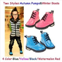 Free shipping 2014 Children Shoes Patent Leather Kids Snow Boots/Pumps Cotton-Padded Shoes Martin Boots Black Blue Red Yellow