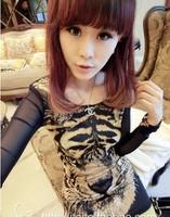 new 2014 crop tops autumn summer space geek women Animal patchwork long sleeve T-shirt tee Novelty 3D tiger head Anime t shirt