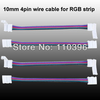 10pcs/set 10mm 4pin rgb wire cable connector for 5050 rgb led strip light, both end with connector