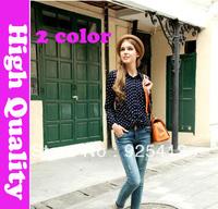 new 2014 autumn summer polka dot blouses  & shirts long sleeve novelty dress t shirt women vintage chiffon blouse runway blusas