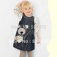 Lovely~ 2015 summer&Spring new fashion European designer sleeveless vl-next baby girls dress,brand girl's denim dress ,Kids time
