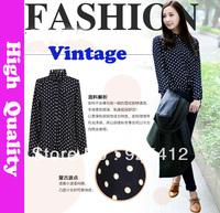 new autumn ladies blouses in 2014 fashion body summer clothes vintage chiffon plus size dot blusas femininas tops for women