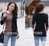 2014 new fashion plus size women clothing t shirt women korean style punk tops tee clothes Long sleeve T-shirt Slim mixed colors