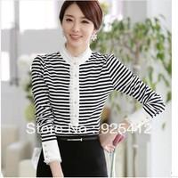 new autumn ladies blouses 2014 fashion body summer clothes Korean striped lace primer crop top tshirt women blusas free shipping